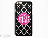 iPhone 6s Case, iPhone 6s Plus Case, iPhone 5s Case, iPhone 5c Case, Black Trellis and Pink, Monogram Gift (354)