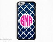 iPhone 5s Case, iPhone 6s Case, iPhone 6s Plus Case, iPhone 5c Case, Navy Trellis with Pink, Monogram Gift (167)