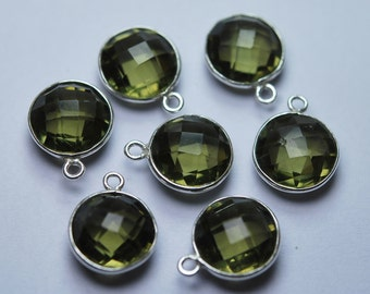 925 Sterling Silver,Olive Quartz Faceted Coins Shape Connector,5 Piece 18mm