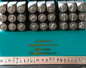 6mm Jenna Sue Font Alphabet Letter Lowercase Stamp Set- 6MM Lowercase Jewelry Metal Stamps- SGCH-JSL6Mm