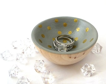 Gray and gold dots wood dish, jewelry dish, ring cup, mini jewelry holder, polka dot bowl, tiny ring cup