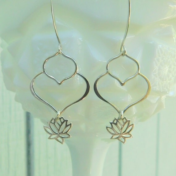 Sterling silver lotus petal earrings, lotus flower earrings, yoga earrings, dangle earrings, wedding earrings
