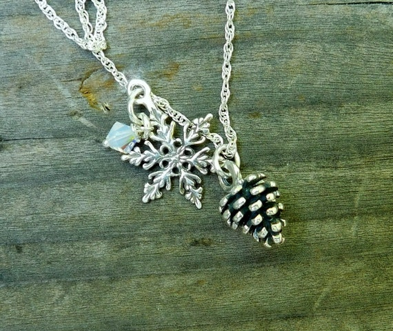 Sterling silver pinecone necklace, snowflake jewelry, nature necklace, third eye enlightenment jewelry.