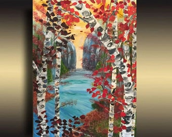 Birch painting- waterfall Painting Textured painting Acrylic Art seascape painting on canvas original Art by Sami