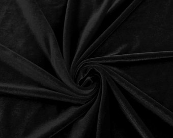 Black Stretch Velvet Fabric by the yard or wholesale  - 1 Yard Style 1001