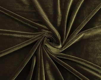 Olive Stretch Velvet Fabric by the yard or wholesale  - 1 Yard Style 1001