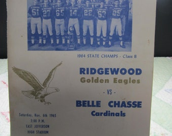 CLEARANCE! was 10.00 Vintage Souvenir Program from Ridgewood Golden Eagles vs Belle Chasse Cardinals 1965 Metairie, Louisiana, 417S