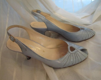 Vintage Pair of Powder Blue Leather Open Toe, Sling Back Shoes, ca 1960s