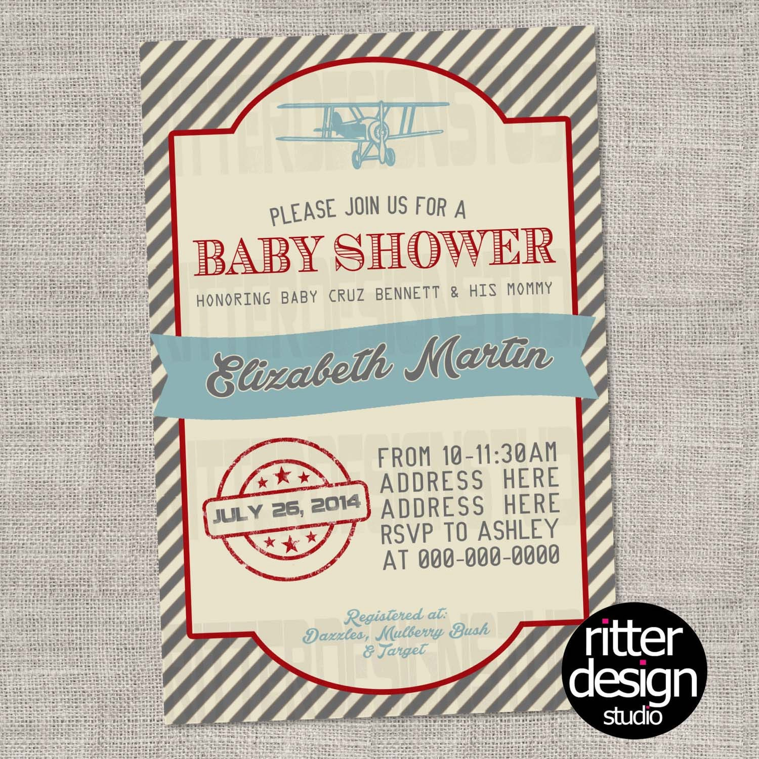 old vintage airplane baby shower invitation by ritterdesignstudio