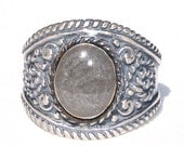 Cigar Band Ring with Small Oval Setting Cremation Jewelry - Pet Cremation Jewelry