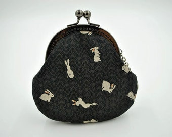 Black Rabbit Coin Purse - Cotton fabric with silver metal frame