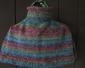 Hand Knitted Wool Blend Cape, Soft and Warm Shoulder Wrap