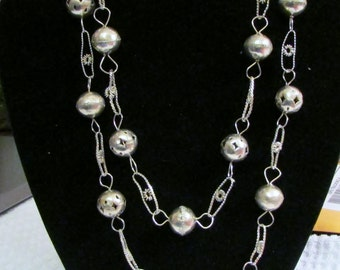 Necklace, Silver Beads, Stunning Beads and Spacers, Wedding Necklace, Hand Made, Continuious Rope, 33in Loop - BreezyTownship.etsy.com NK006