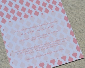 Pink Ikat print bridal shower, baby shower or birthday party invitation