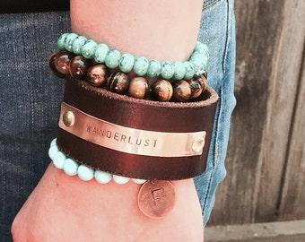 Wanderlust Stamped Metal Cuff Bracelet