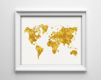"INSTANT DOWNLOAD 8X10"" Printable digital art file - World map - Faux gold glitter - beige background - nursery wall art - bedroom - SKU:696"