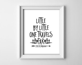 Nursery PRINTABLE Wall Art - Black and White - Little by little one travels far - Tolkien Quote - Minimalist Nursery Decor - Gift - SKU:654