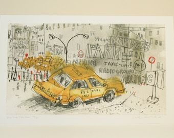 NEW YORK TAXI Park, Manhattan Wall Art, New York City Car Wash, Signed Limited Edition Giclee print Nyc Watercolor Painting, Clare Caulfield