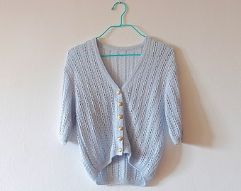 Vintage Baby Blue Knitted Cardigan