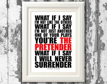Foo Fighters - The Pretender  8x10 Picture Mount & Print Typography Song Lyric Print For Framing (No Frame )