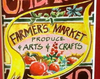 Farmers Market Watercolor Framed Mid-Century Art Gabriola Island Canada BC Farmer's Market Produce Arts & Crafts Dale McLean 1970s Produce