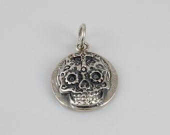 Handmade Sterling Silver Sugar Skull Disc Pendant