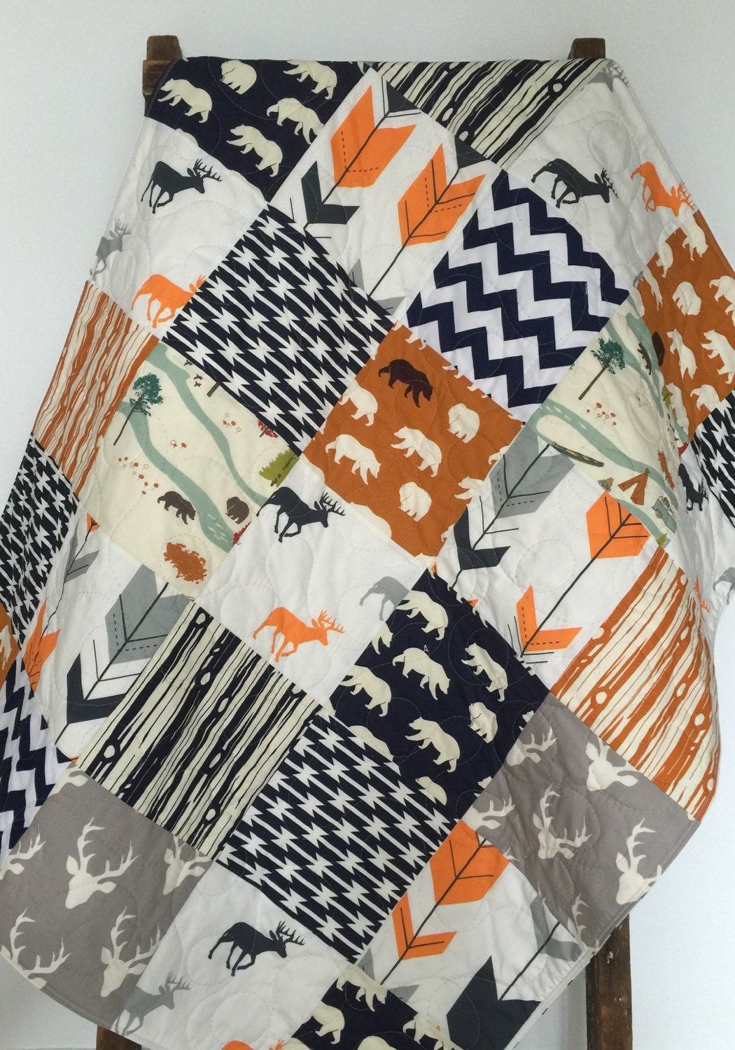 Baby Boy Quilt Patchwork Bow And Arrow Feather River