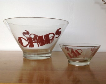 Vintage Mod Typography Chips and Dip Bowls