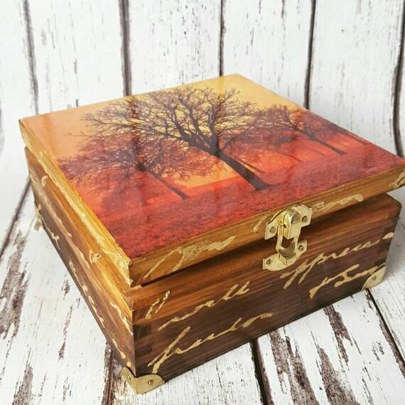 Nostalgic walk in the park,golden fall, Autumn Colours, Decoupage Tea Box/  Cookies Box/ Storage/ Jewellery box,wooden unique tea caddy