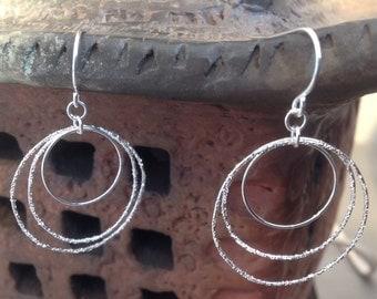 Hoop Earrings  triple Sterling Silver diamond pave'tooled
