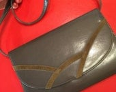 Vintage khaki clutch bag gray khaki envelope detatchable shoulder strap handbag suedette detail vegan leatherette wedding party