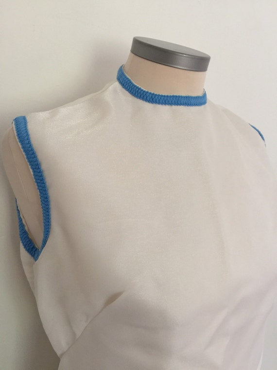Mod dress white shift shimmer sparkle chiffon baby blue braiding detail vintage bridesmaid scooter girl party UK 12