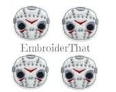 UNCUT Spooky Halloween Hockey Mask Face machine embroidered felt appliqué embellishments felties stitchies (4)