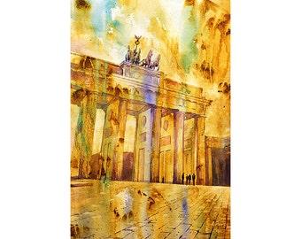Watercolor painting of triumphal arch of Brandenburg Gatein Berlin- Germany.  Berlin watercolor painting.  Berlin painting.  Colorful art.