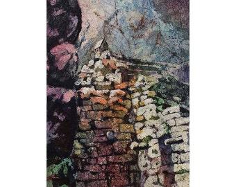 Incan ruins of Machu Picchu- Sacred Valley, Peru.  Watercolor batik.  Watercolor painting.  Machu Picchu fine art print original watercolor
