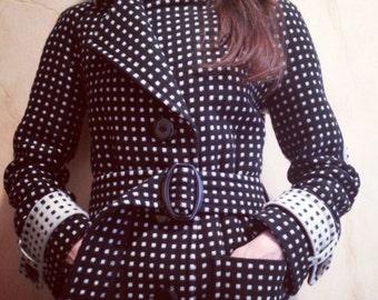 """Women coat black and white pure wool """"Domino"""""""