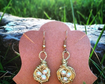 Gold and Pearl Birds Nest Earrings