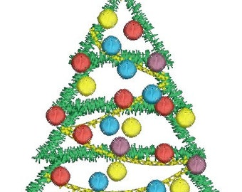 Green Ribbon Christmas Tree  - Machine Embroidery Design