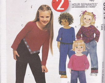 McCalls 3014 Vintage Pattern Little Girls Top in Variations and Pants in 2 Lengths Size 4,5,6 UNCUT