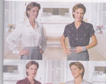 Butterick 5788 Vintage Pattern Womens Button Up Shirt in 4 Variations  Size 8,10,12 UNCUT
