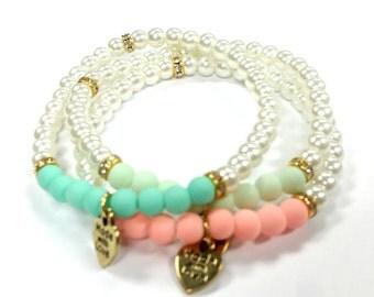 Beaded Bracelet, Women's Bracelet, Pearl Bracelet, Sweet Sixteen, Women's Jewelry, Bridesmaid Gift, Quinceañera Jewelry, Prom Jewelry