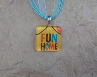 Broadway Musical Fun Home Glass Pendant and Ribbon Necklace