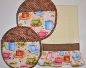 Personalized Kitchen Towel & Coffee Cup Oven Mitts