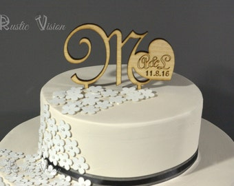 Wooden Wedding Cake Topper Rustic - Heart Letter Monogram