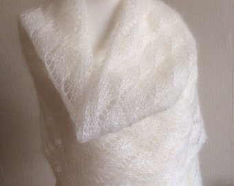 Mohair and Silk Lace Wedding Shawl in Ivory