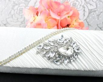 Wedding Clutch, Wedding Purse, Bridal Clutch, Bridal Purse Satin White Clutch Purse, Bridal Accessories Style-32