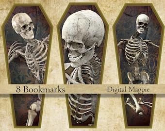 Halloween bookmark instant download printable skeleton bookmarks coffin digital collage sheet trick or treat book lover gift