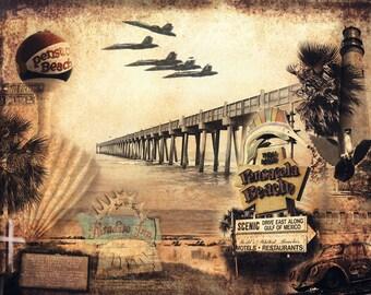 Pensacola Beach Collage - Vintage Pensacola Beach Art Print - Pensacola Lighthouse - Blue Angels - Pensacola Sign - Pensacola Pier - Beach