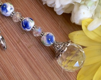 Crystal and ceramic light pull. Blue beaded ceiling fan pull, lighting decor pull chain, decorative ball chain pulls.