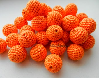 "Crochet beads 5 PCS  3/4""  20 mm Orange Wooden crochet cotton beads Crocheted bead Round beads Necklaces"